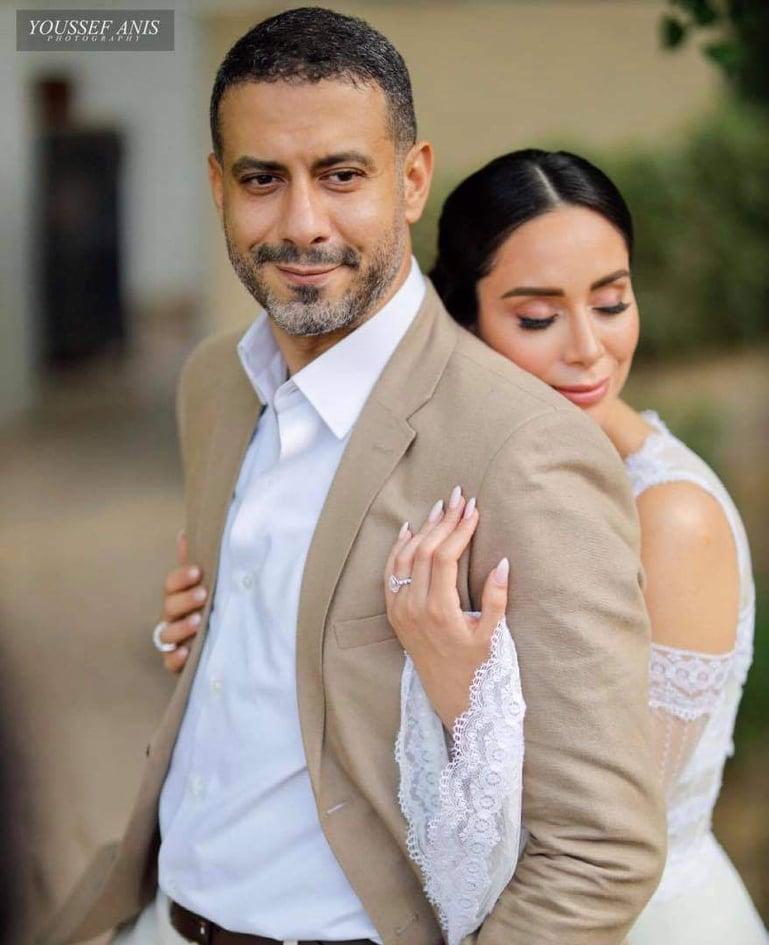 محمد فراج وبسنت شوقي خلال زفافهما