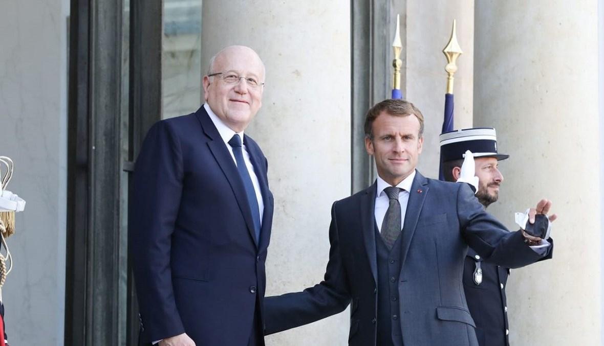 الرئيس الفرنسي مع رئيس مجلس الوزراء اللبناني