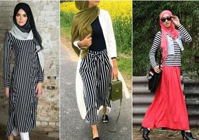 c69602fee بالصور للمحجبات.. 7 طرق متنوعة لارتداء الملابس المخططة - بوابة الشروق