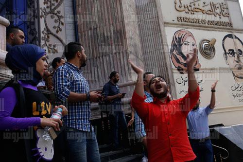اعتصام الصحفيين اعتراضا على اقتحام الأمن للنقابة- تصوير هبة الخولي