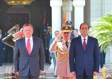 السيسى فى مراسم الاستقبال الرسمي لملك الأردن بالقاهرة