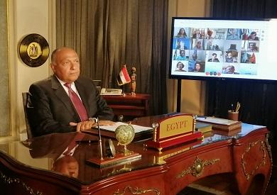 سامح شكري أثناء جلسة مجلس الأمن بشأن سد النهضة