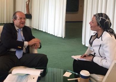 وزيرة البيئة تبحث مع ممثل الاتحاد الأوروبى بالأمم المتحدة سبل التعاون المشترك