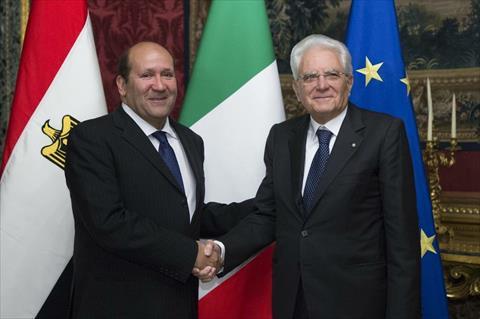 هشام بدر مع الرئيس الايطالي
