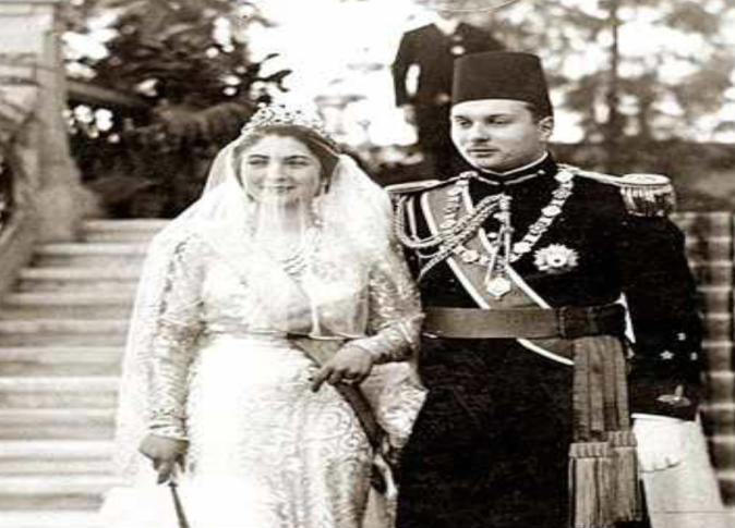 الملك فاروق وزوجته الملكة فريدة