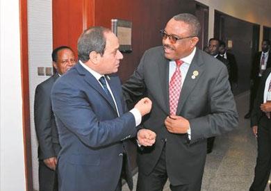 السيسى مع هيلى ميريام ديسالين رئيس وزراء اثيوبيا