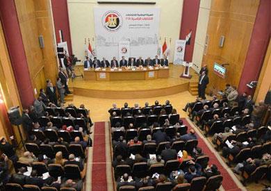 الهيئة الوطنية للانتخابات خلال مؤتمر إعلان الجدول الزمني لانتخابات الرئاسة 2018