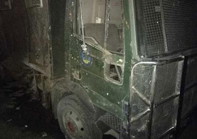 سيارة الأمن المركزي بعد الهجوم