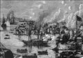 رسم يمثل حرب الأفيون الأولى بين بريطانيا والصين