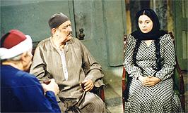 حسن حسني وصابرين ورشوان توفيق بمشهد من مسلسل أم كلثوم 1999