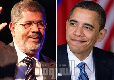الرئيس الأمريكي باراك أوباما ومحمد مرسي