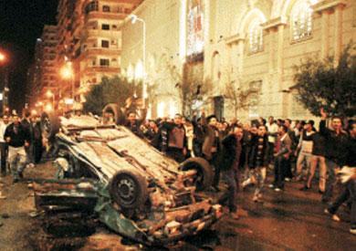 آثار تفجيرات كنيسة القديسين بالإسكندرية