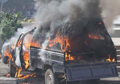مجهولون يحرقون سيارتي شرطة بالبحيرة وإصابة 3 مجندين - أرشيفية