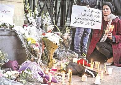 السفارة الإيطالية وقفة تضامنية لمقتل جوليو - تصوير: روجيه أنيس
