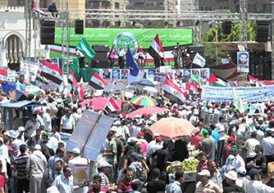 منصة اعتصام أنصار الرئيس الأسبق محمد مرسي في ميدان رابعة العدوية – أرشيفية