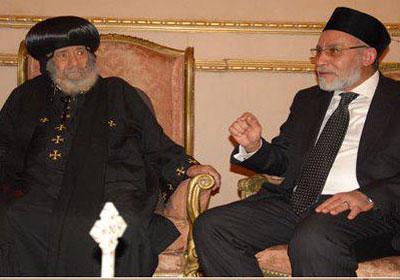 جانب من اللقاء اللذي جمع اتلدكتور محمد بديع مع البابا شنودة - صورة أرشيفية