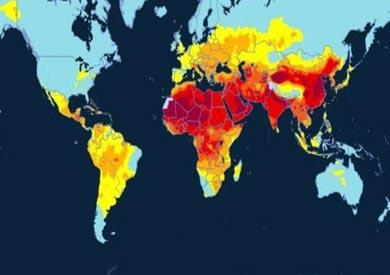 خارطة نشرتها منظمة الصحة العالمية تبين انتشار ظاهرة الهواء الملوث واماكن تركزها