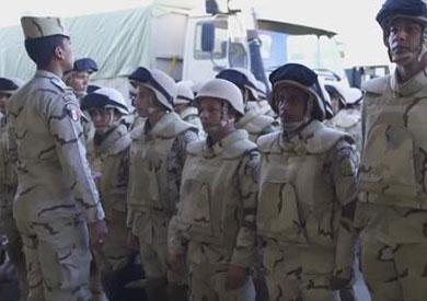 جانب من القوات المصرية المشاركة فى رعد الشمال