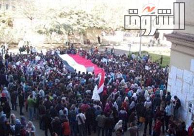 صورة لمظاهرة طلبة هندسة جامعة القاهرة