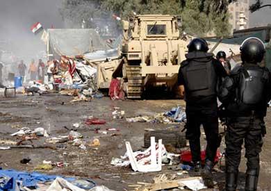 قوات الشرطة في رابعة العدوية بعد خروج المتظاهرين