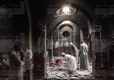 حرق كنيسة ملوي - تصوير: روجيه أنيس
