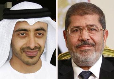 الرئيس محمد مرسي - الرئيس الإماراتي محمد بن زايد -<br/><br/>العلاقات المصرية الإماراتية تواجه أزمة دبلوماسية مؤخرا