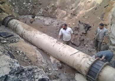 كسر بأحد الخطوط المغذية لفيصل والهرم بسبب عمليات توسعة الشارع