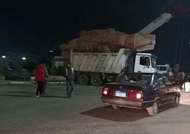 نقل تمثال الملك رمسيس من أمام جامعة الزقازيق