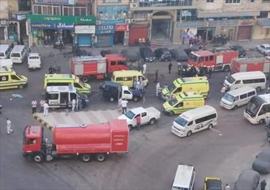 سيارات الإطفاء والإسعاف أمام المستشفي