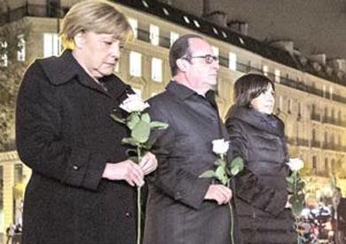 ميركل وأولاند وعمدة باريس ان هيدالجو يأبنون ضحايا الهجمات