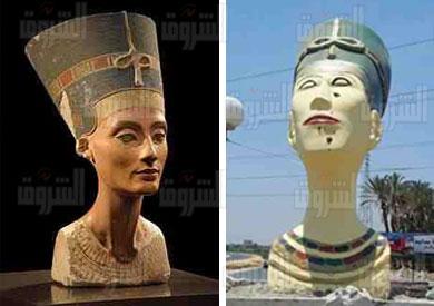 تمثال نفرتيتي المتداول عبر الفيس بوك  و تمثال نفرتيتي الأصلي