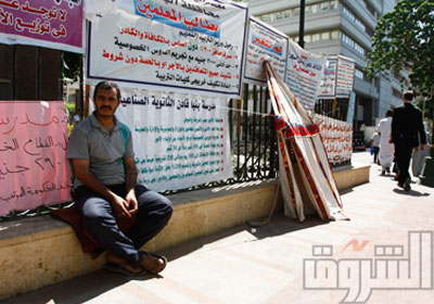 المعلمون متمسكون باعتصامهم رغم تصريحات الوزير - تصوير : محمد نوهان