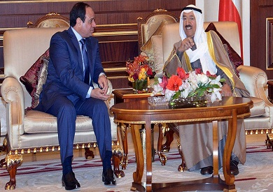 الرئيس عبد الفتاح السيسي والأمير الراحل صباح الأحمد - صورة أرشيفية