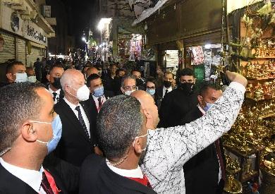 الرئيس التونسى يزور الحسين وشارع المعز