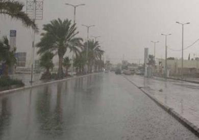 توقف حركة النقل والمواصلات بسبب أمطار غزيرة بالمنيا