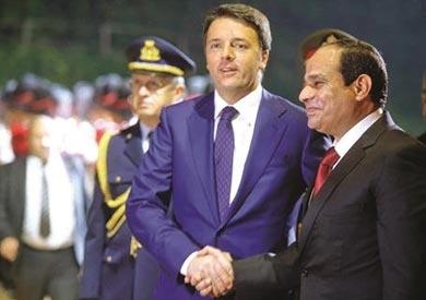 صورة أرشيفية للرئيس السيسى مع رئيس وزراء إيطاليا
