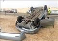 حادث انقلاب سيارة في السويس
