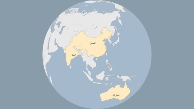 خريطة العالم بدون نيوزيلندا