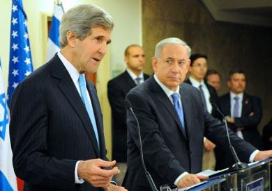 وزير الخارجية الأمريكي جون كيري ورئيس الوزراء الإسرائيلي نتانياهو