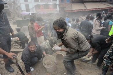 آثار زلزال نيبال المدمر- «أ.ف.ب»