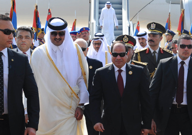 استقبال الرئيس عبد الفتاح السيسي لأمير دولة قطر الشيخ تميم بن حمد