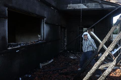 المنزل الذي تم إحراقه في نابلس