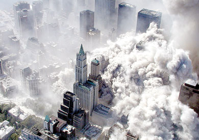 هجمات 11 سبتمبر دمرت برجى مركز التجارة العالمى بالكامل